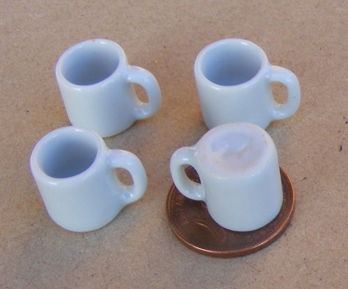 1:12 Scale 2 Yellow Ceramic Mugs SA 1.2cm Tumdee Dolls House Drink Accessory Y46