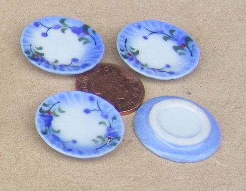 1:12 Scale 4 Turquoise Blue Ceramic Plates 2cm Tumdee Dolls House Accessory B91