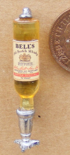 1:12 Scale Jim Beam Bourbon label on a Glass Bottle tumdee Dolls House