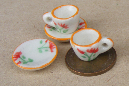 1:12 Scale 2 Ceramic Cup /& Saucer Sets Coloured Dots Dolls House Accessory CS9