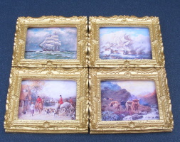 1:12 Scale Framed Picture Print Of A Sailing Ship Tumdee Dolls House Art Colour