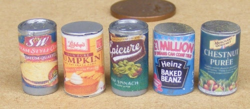 1:12 Scale Selection Of 5 Fish Tins Tumdee Dolls House Miniature Food Cans FiT1
